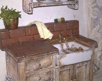 Miniature Dollhouse KITCHEN SINK with plate rack-miniature sink with plate rack