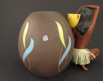 Rare vintage ceramic vase / Siershahn / brown, yellow and light blue / modell 1003 21   West German Pottery   50s