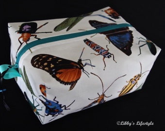 Beetles and butterflies toiletry bag. Handmade. Moisture resistant travel bag.