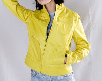 Vintage 90's Yellow Designer Leather Motorcycle Jacket by For Joseph