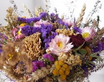Dried flower bouquet, Rustic flower bouquet, natural flower decor, Organic flower bunch, Rustic Wedding Decor