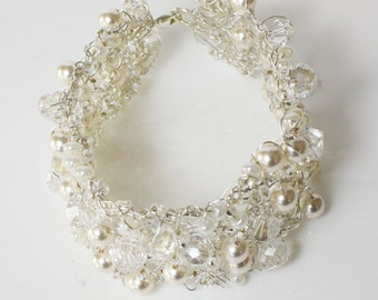 Pearl and crystal bridal cuff,  Wire knitted  pearl cuff, Knitted jewellery, cuff, sparkle bracelet beaded cuff, bridal jewellery