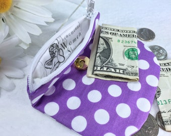 Purple Polka Dot Coin Purse, Secure Zipped Closure, Woman's Small Wallet, Magnetic Snap, Fold Over Change Purse, Small Zipper Pouch