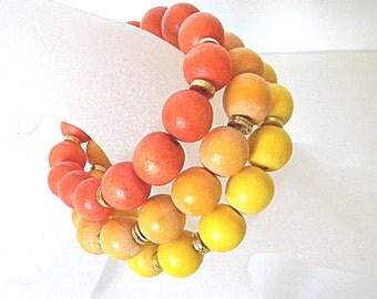 Yellow bracelet set, orange beaded bracelet, yellow stacking bracelet, wooden beaded bracelet colorful bracelet for her spring bracelet