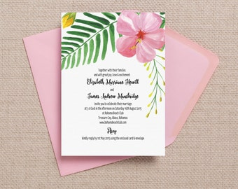 Tropical Beach Pink Hibiscus Flowers Destination Wedding Invitation with envelopes
