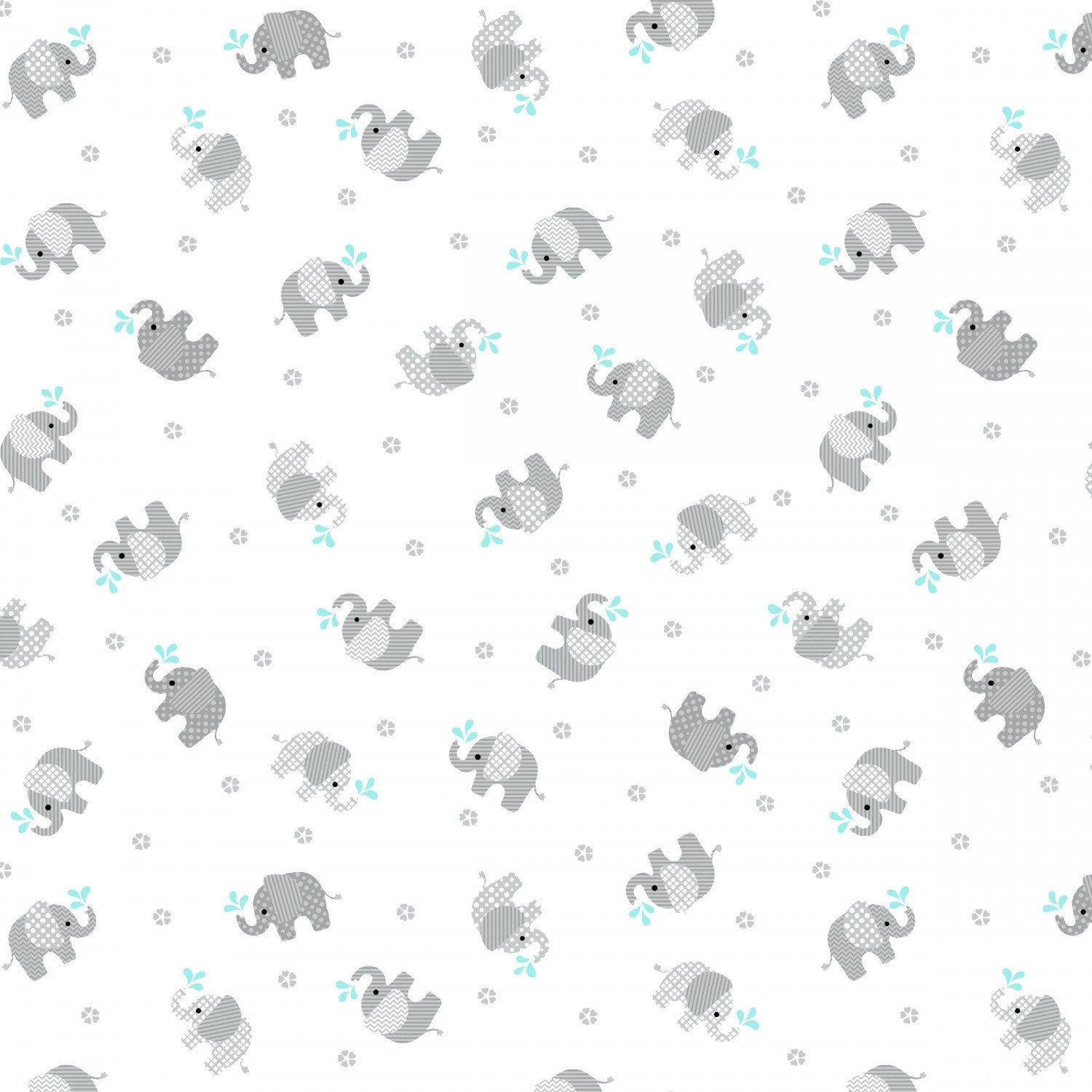 Double gauze fabric grey elephants baby love double gauze by for Grey baby fabric