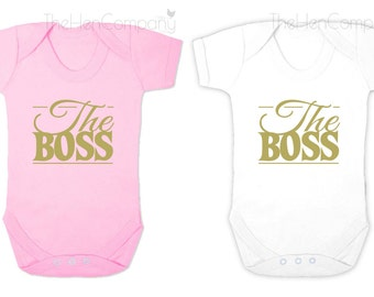 The Boss Babygrow Funny Babygrow The Boss Romper The Boss Bodysuit Baby Girl Clothes Baby Girl Clothing Baby Girl Quote Romper