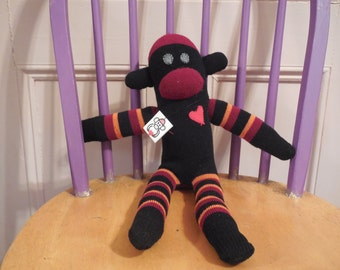 Black and Red Striped Sock Monkey