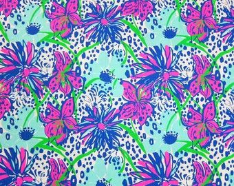 "1 Yard 36"" x 58"" New Lilly Pulitzer Cotton Dobby Fabric "" In The Garden """