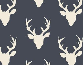 KNIT 1 Yard- Hello, Bear by Art Gallery Fabrics- Buck Forest Navy 4434-3