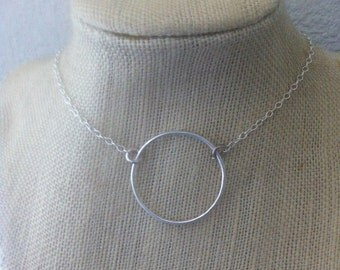 Cicle Necklace Very large Circle Necklace Eternity Necklace 925 Sterling Silver Karma Circle Necklace Dainty Big Circle Necklace - Eternity