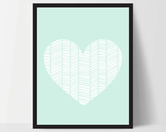 Wall Art, Geometric Heart, Unframed, Artwork, Home Decor, Modern Contemporary, Print Art, Boho, Nursery, Baby, Mint Green, 12x16 Inches