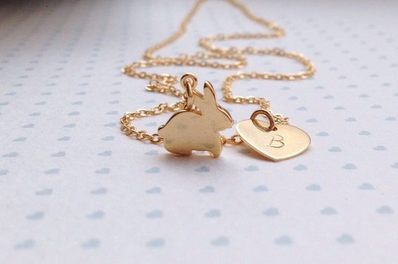 Gold bunny necklace easter gift niece necklace for child like this item negle Images