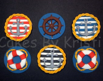 Nautical Cupcake Toppers (MADE TO ORDER)