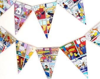 Simpsons Book Birthday Bunting- Simpsons  Handcrafted Cartoon  Garland- Comic Book Design Birthday Bunting - The Simpsons Decor