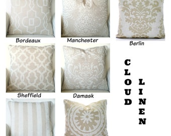 Tan Off White Decorative Pillow Covers, Cushions, Decorative Throw Pillows, Linen Look Tone on Tone Shabby Chic, Mix & Match All Sizes