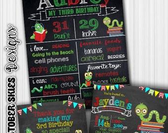 Book Worm Birthday Chalkboard / Chalkboard Invite / Printable / Custom / 1st year / Printable Chalkboard
