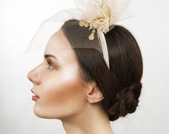 Vintage Inspired Upcycled Apricot Blush Veiled Headband