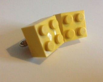upcycled yellow brick cufflinks. fathers day gifts, gifts for him, wedding gifts.