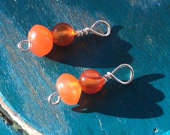 Sterling Silver Wrapped Carnelian for Hammered Wire Earrings