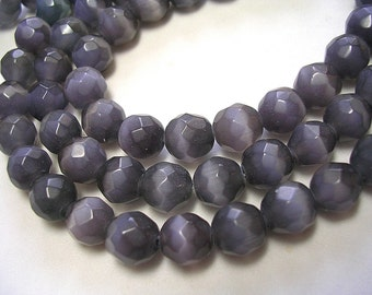 Grey Black 8mm Beads Faceted Black Cats Eye Beads 45 Beads 8mm Gray shimmery Greyish Black beads Faceted Rounds Gorgeous Shimmer Gray