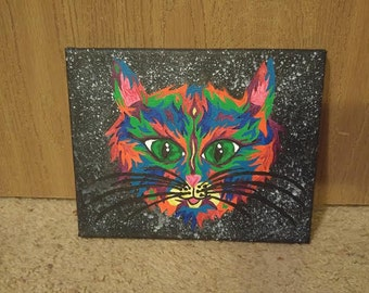 Mini Trippy Kitty Canvas Painting Hand-Painted