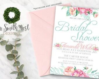 Garden Bridal Shower Invitation DIY PRINTABLE Customizable Digital Print