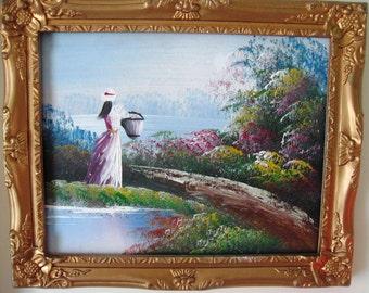 Small Original Oil Painting on Board Art Gold Framed - Girl Picking Flowers
