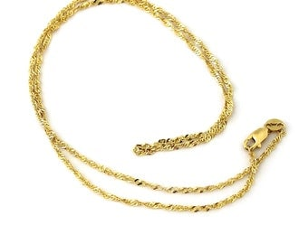 Singapore Gold Chain 24 Inch New 10k Solid Yellow Gold Men Women Ladies 1.25mm Made in Italy