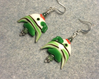 Green and white striped lampwork angelfish bead earrings adorned with green Czech glass beads.