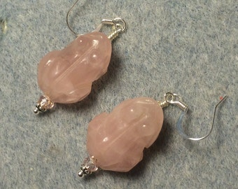 Rose quartz gemstone frog bead earrings adorned with pink Chinese crystal beads.