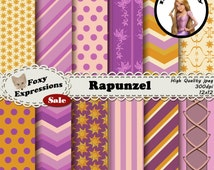 Rapunzel Digital Paper pack inspired by Tangled comes in dress patterns, lantern patterns, and the kingdoms suns. In pink, purple and yellow