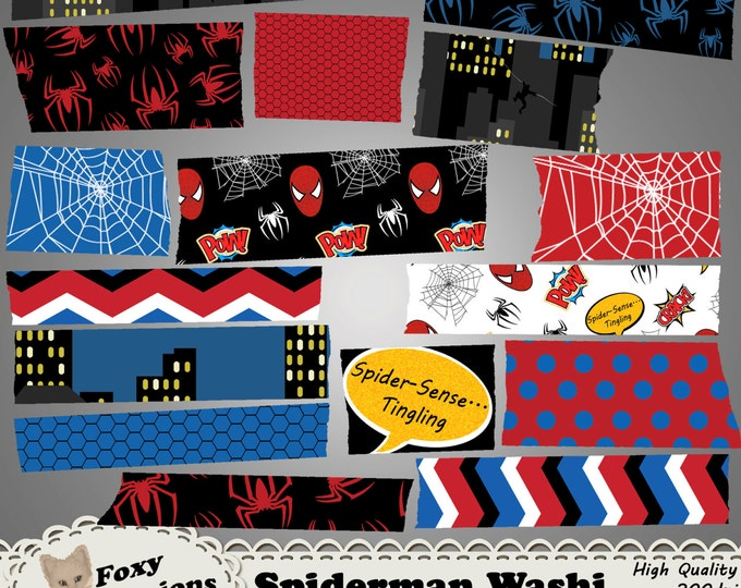 Web Slinger digital washi inspired by Spiderman Comics by Stan Lee. Pack includes spiders, webs, spiderman swinging off building, comic tags