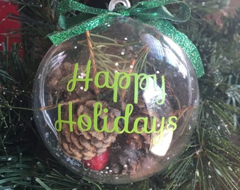 Personalized Nature-Filled Christmas Ornament - Happy Holidays Ornament