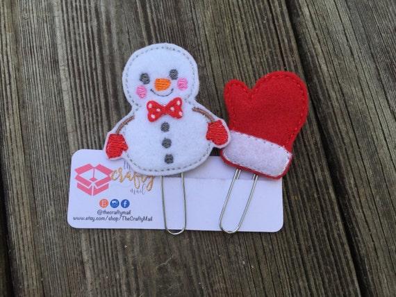 Snowman Paper Clip/planner clip. Christmas planner clips. Mitten planner clip. Choose style