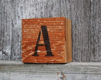 Rustic wood block letters.  Customizable letter blocks created by Minty Daisy