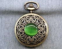 FAUX Opal Pocket Watch Antique Bronze Watch Fob Floral Pocket Watch Pendant 46mm, for gifts