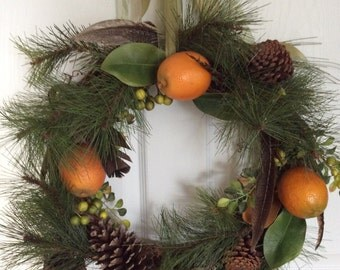Old World orange and pine wreath