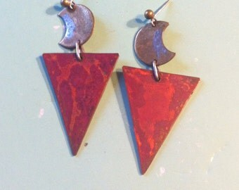Beautiful handmade metal worked copper and metal design earrings