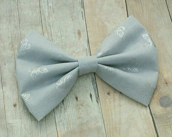 Silver Gray Butterfly Print Fabric Hair Bow Clip / Butterfly Hair Bow / Silver Hair Bow Clip / Gray Butterfly Bow / Silver Butterfly Clip