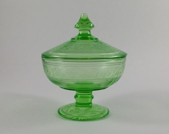 Antique Green Hazel Atlas Cloverleaf Candy Dish With Lid