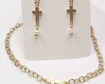 Petite CZ Cross Earring and Sideways Cross Necklace in Matte Gold Tiny Pearl Dangling. Cross Jewelry, Cross Matte Gold Earrings or Necklace