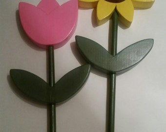 Wooden Spring Flowers Sunflower or Tulip