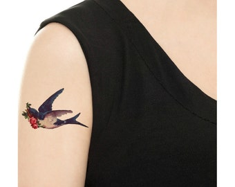 Temporary Tattoo - Vintage Swallow and Rose / Parrot