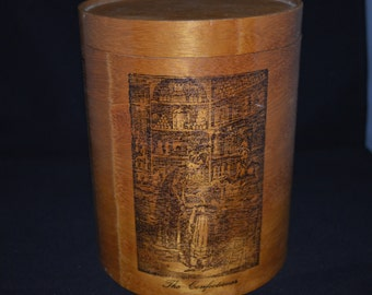 Confectioner / canister / England / 1970s / wood / wood canister / brown / container / brown canister / vintage canister / kitchen decor