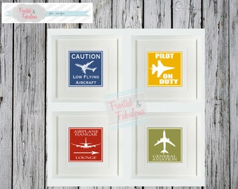 Airplane Nursery, Toddler Room, Prints  (four)
