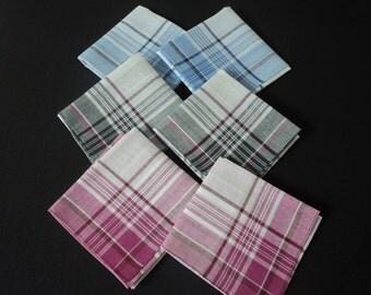 Six French  cotton men's handkerchiefs (03136-37 - 04774)