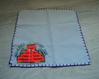 REDUCED French vintage cotton hand made handkerchief (00271)