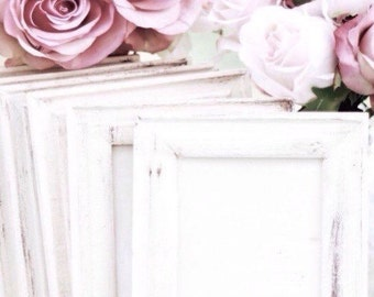 Picture Frames Distressed White Shabby Chic Rustic Frames Antique Style Frames Wedding Frames Nursery Frames Gallery Wall