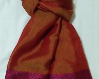 Women's 100% Handwoven Lustrous Orange Ethiopian Cotton Scarf w/ Color Contrasted Decorative Design